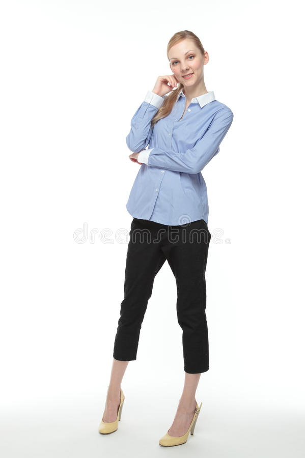 Download Caucasian woman smiling stock image. Image of blouse - 25301571