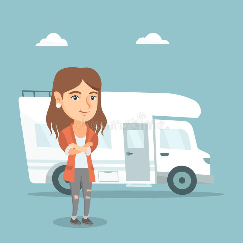 Caucasian woman standing in front of motorhome. Full length of young caucasian woman standing with arms crossed on the background of motorhome. Smiling woman stock illustration