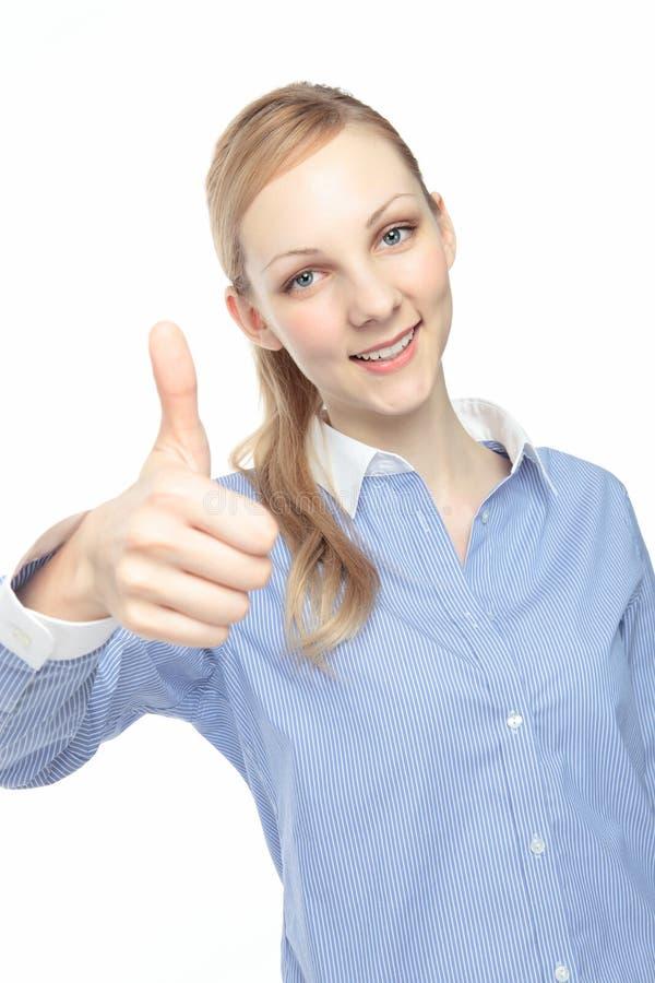 Caucasian woman to make a finger stock photos