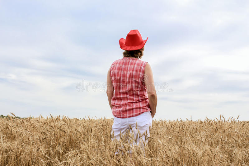 Caucasian woman wearing red cowboy hat standing in a wheat field. royalty free stock images