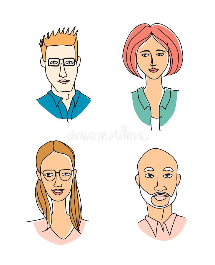 Caucasian women`s men`s head portraits. Mono-ethnic team gruop crowd community stock illustration