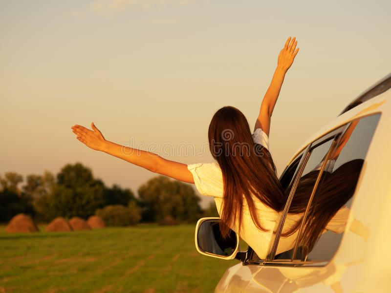 Caucasian women travel relax in the holiday. royalty free stock image
