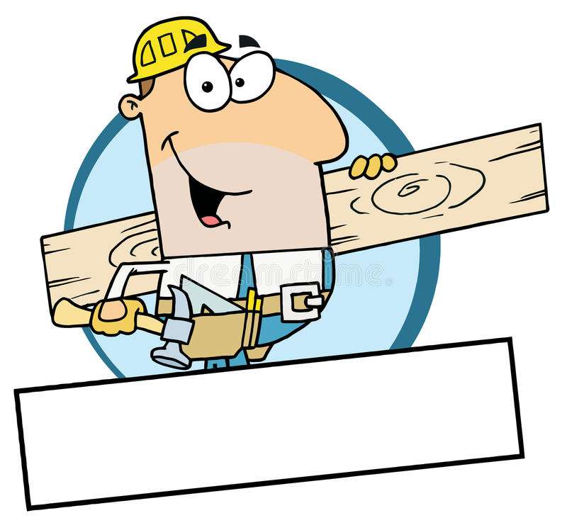 Caucasian worker man a wood plank vector illustration
