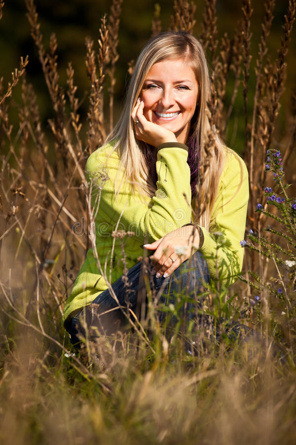 Download Caucasian Young Adult Blond Woman Outdoor Fall Tim Stock Photo - Image: 16465528