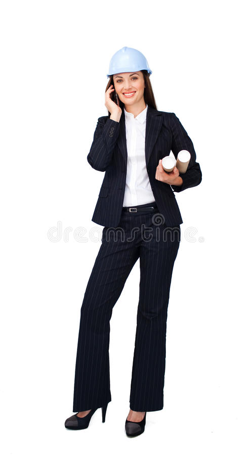 Download Caucasian Young Architect Holding Blueprints Stock Image - Image: 12211607