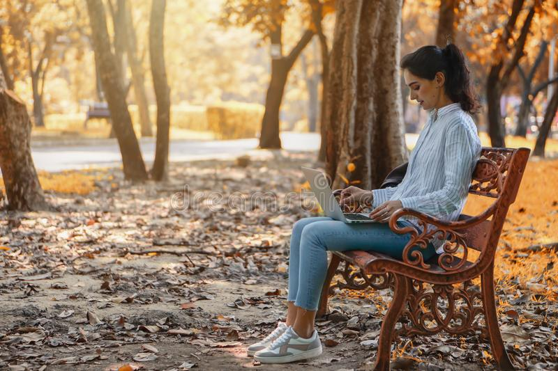 Caucasian young attractive woman sitting on chair in park using laptop computer for her work in autumn season stock photo