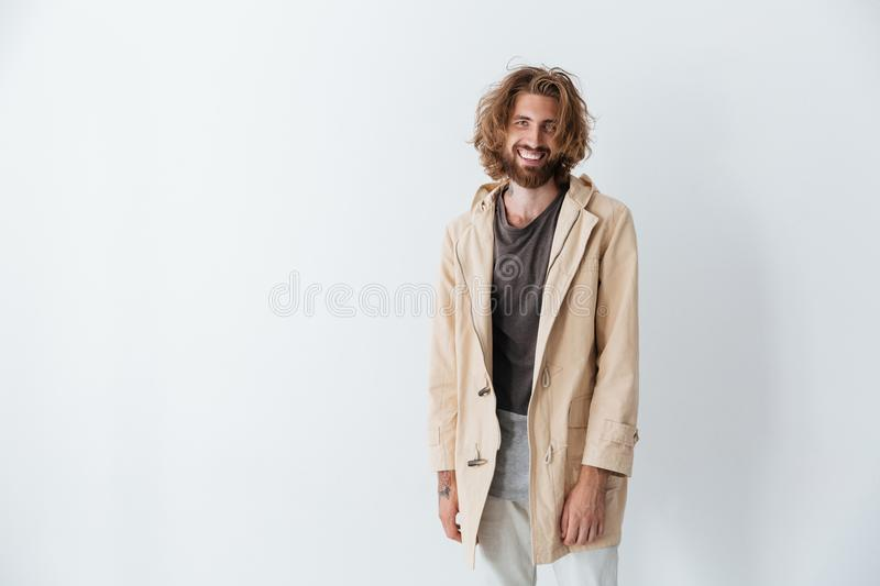 Caucasian young happy bearded man standing isolated stock image
