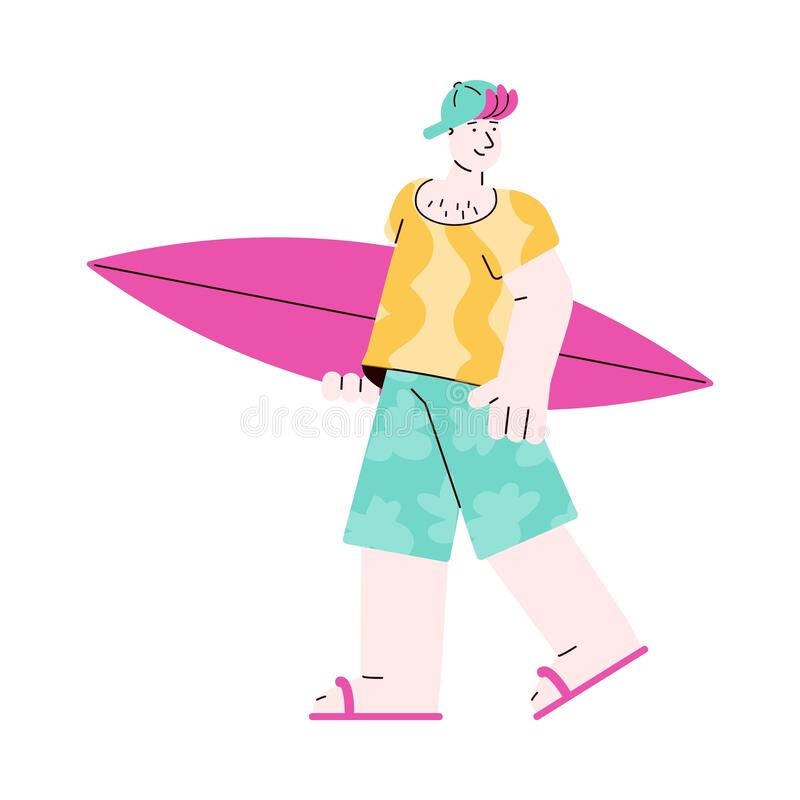 Caucasian young man surfer with surfboard, sketch vector illustration isolated. stock illustration