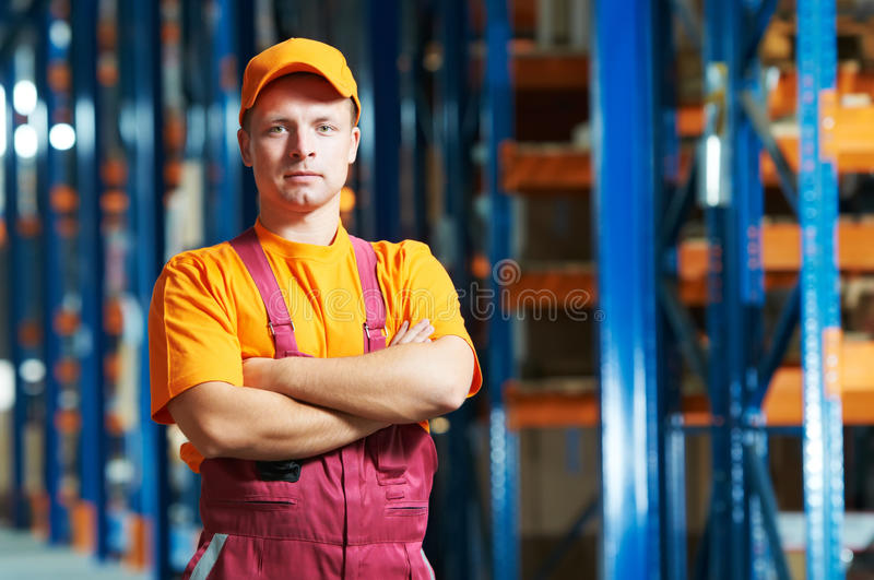 Caucasian young manual worker royalty free stock image