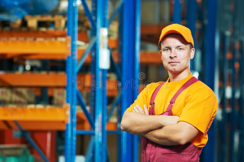 Caucasian young manual worker stock photography