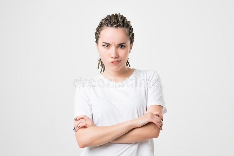 Caucasian young very unhappy woman, trying to argue or to complain stock photos