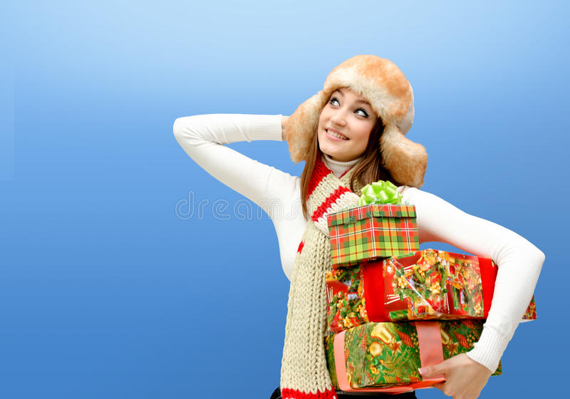 Download Caucasian Young Woman With Christmas Gifts Stock Photo - Image: 17171360