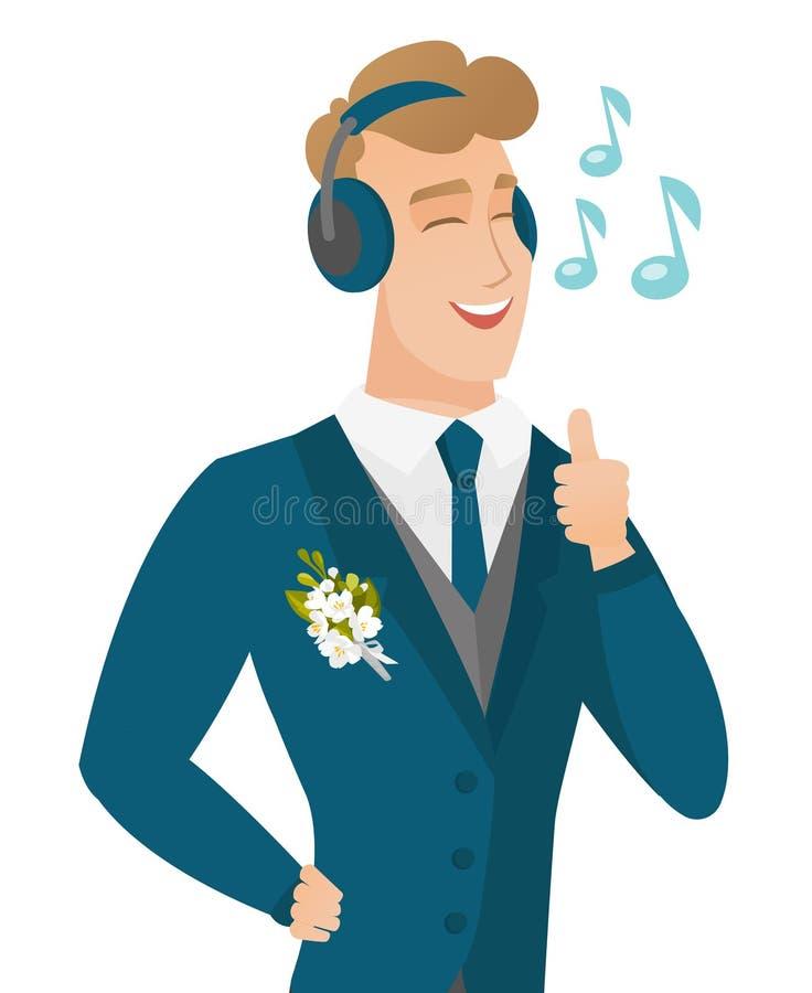 Caucasiangroom słucha muzyka w hełmofonach ilustracji