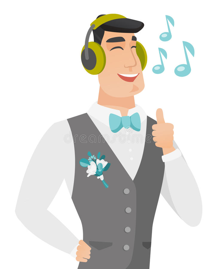 Caucasiangroom słucha muzyka w hełmofonach royalty ilustracja
