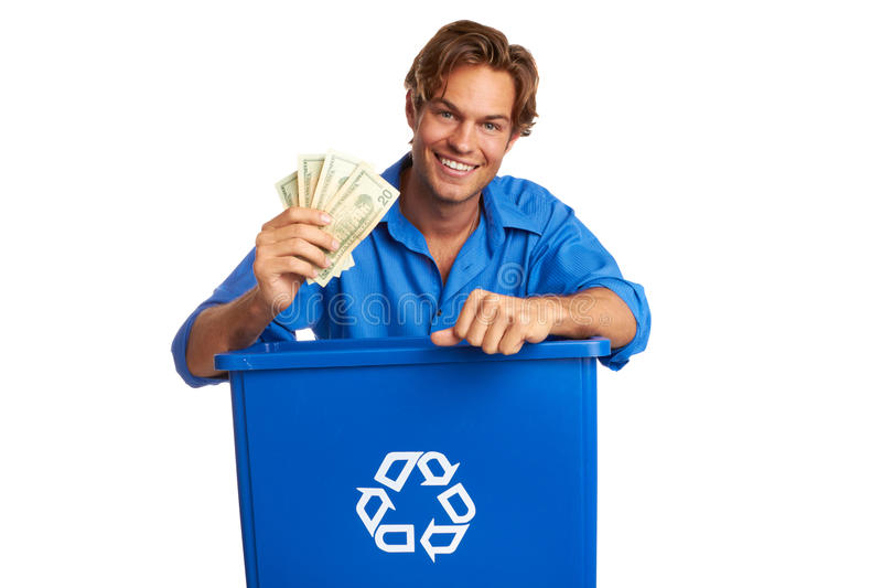 Download Caucasion Male With Recycle Bin Holding Money Stock Photo - Image: 30620166