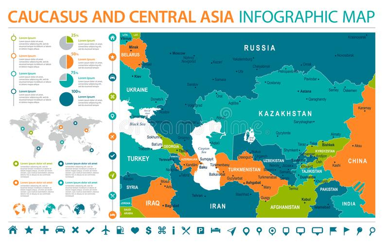 Caucasus And Central Asia Map - Info Graphic Vector Illustration ...
