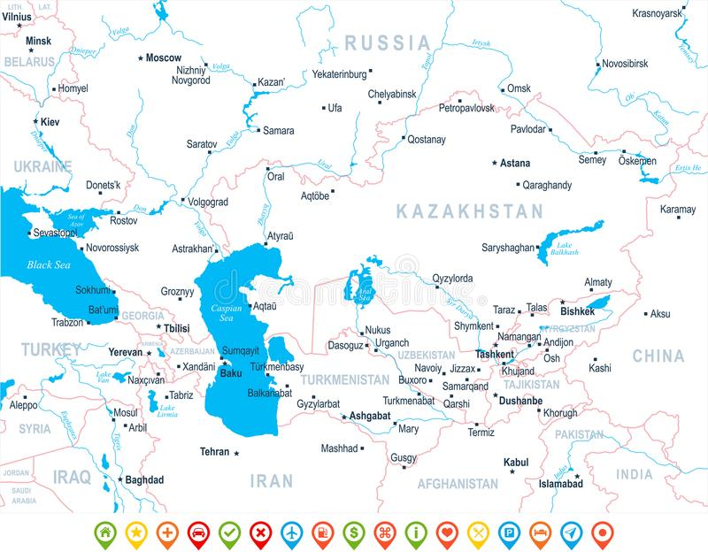 Caucasus And Central Asia Map - Vector Illustration Stock ...