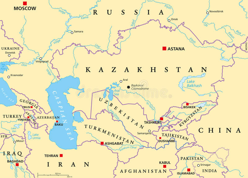 Caucasus And Central Asia Political Map Stock Photo Image of asia