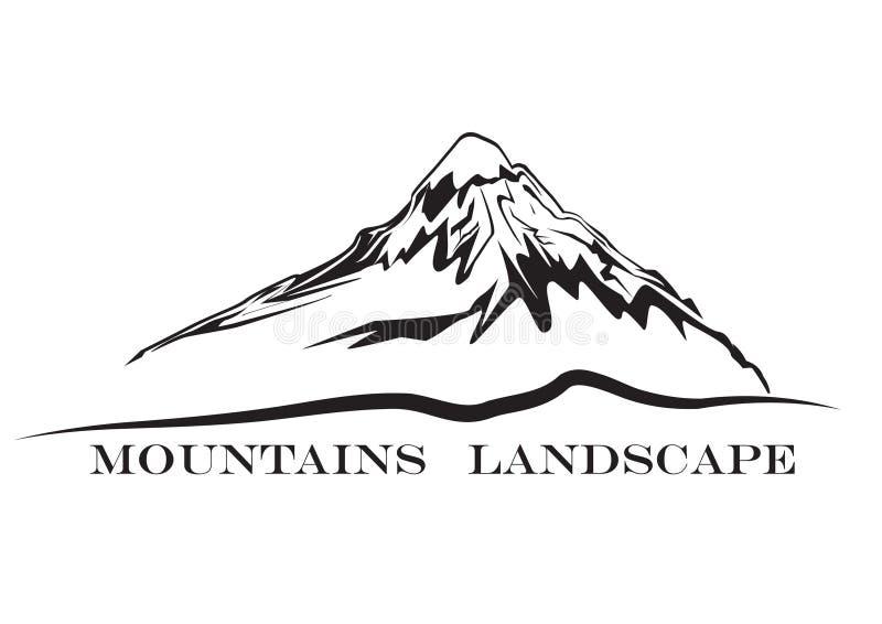 caucasus clouds ushba för sky för liggandebergberg shurovky Abstrakt symbol för högt berg stock illustrationer