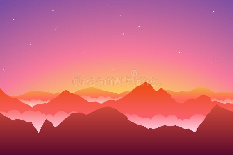 caucasus clouds ushba för sky för liggandebergberg shurovky Färgrik terrängbakgrund stock illustrationer