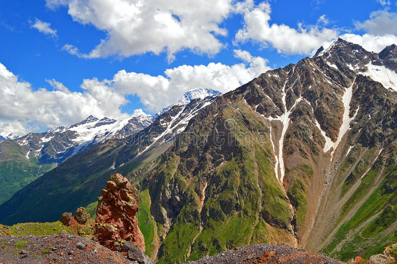Caucasus mountain peaks royalty free stock photos
