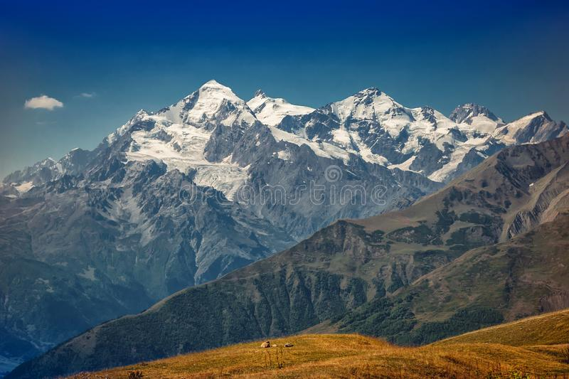 The Caucasus mountains in Georgia country. Beautiful mountain landscape. Svaneti. Nature and  Mountain background royalty free stock image