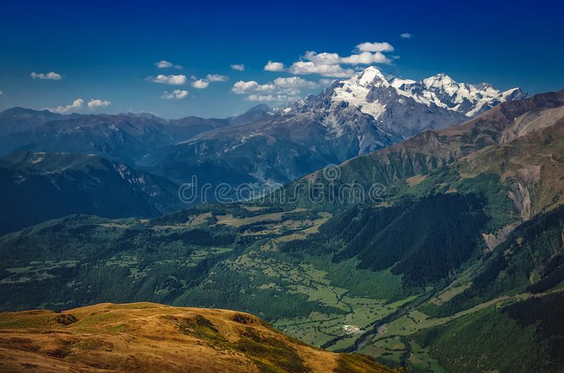 The Caucasus mountains in Georgia country. Beautiful mountain landscape. Svaneti. Nature and  Mountain background royalty free stock images