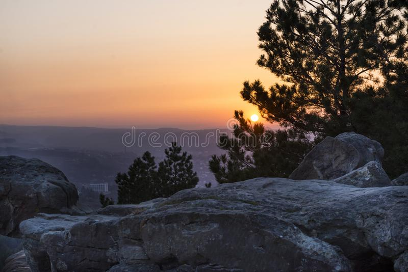 Caucasus mountains, Kislovodsk, sunset over the mountain valley, stones royalty free stock photography