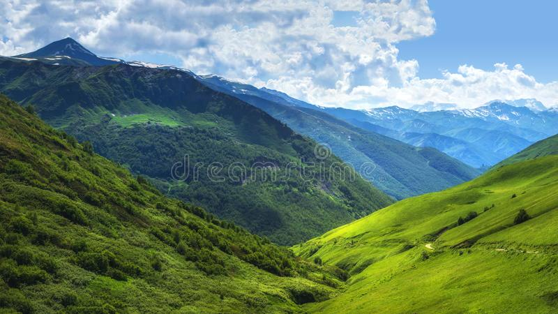 Caucasus nature landscape on sunny summer day. Green valley. Hills covered by grass. Scenery mountains in Svaneti. Georgia. Alpine valley. Wonderful highlands royalty free stock photography