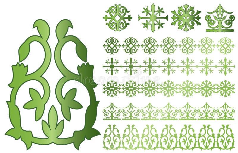 caucasus prydnadar stock illustrationer