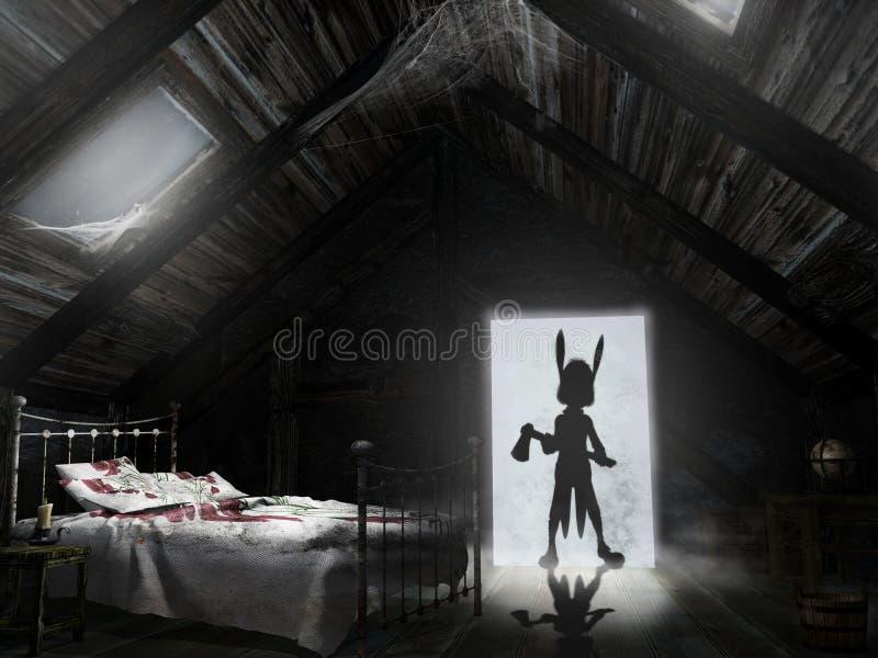 Cauchemar dans le grenier illustration de vecteur