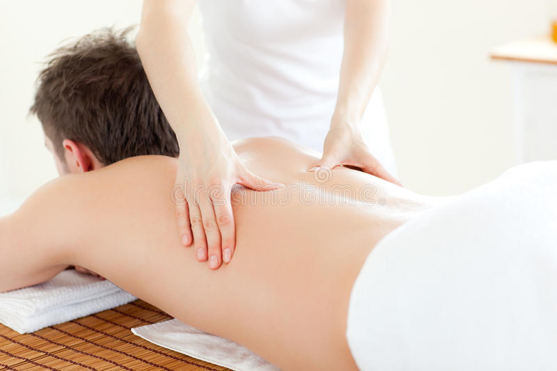 Download Caucsasian Young Man Having A Back Massage Royalty Free Stock Image - Image: 14835896