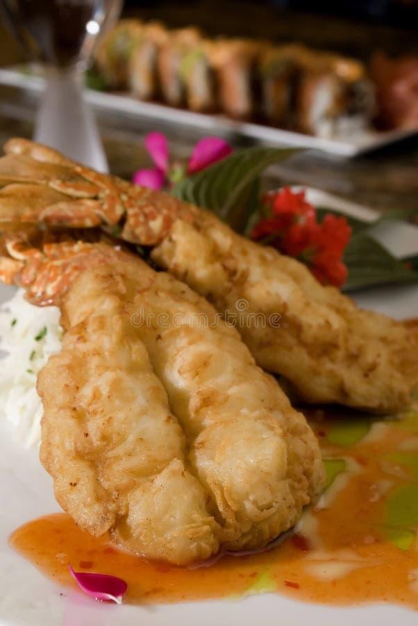 Cauda de lagosta fritada Tempura fotografia de stock royalty free