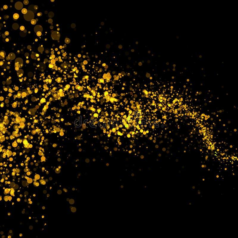 Cauda de poeira de brilho das estrelas do bokeh do ouro ilustração do vetor