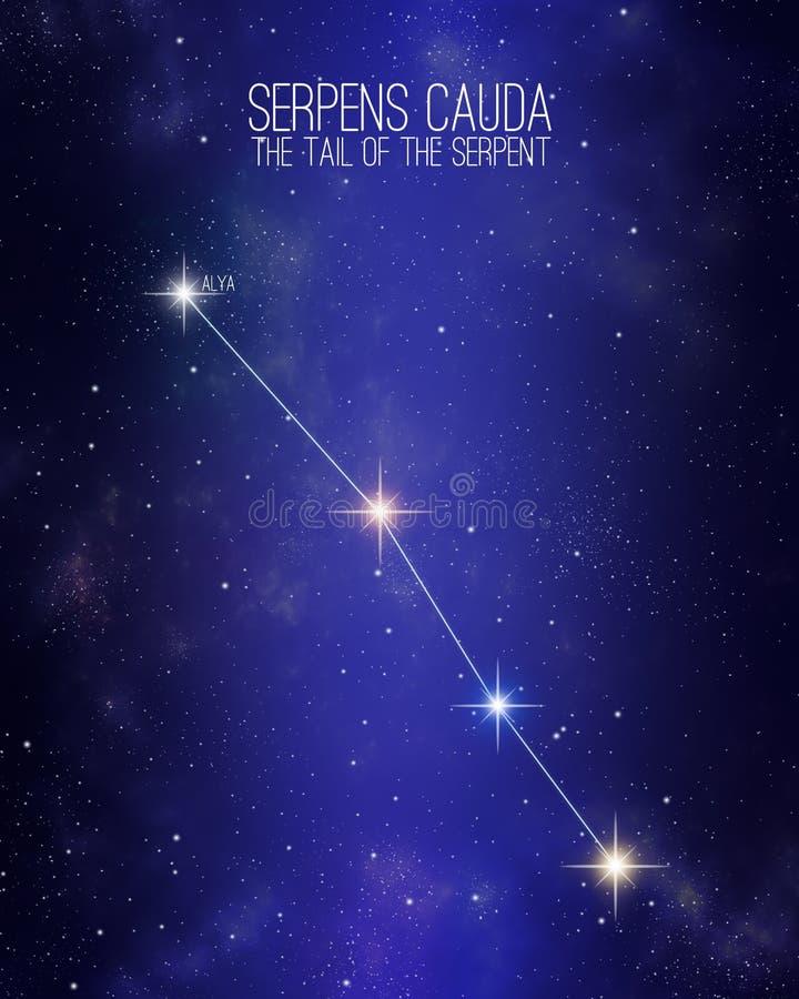 Cauda de Serpens a cauda da constelação da serpente em um fundo estrelado do espaço com os nomes de suas estrelas principais Tama ilustração stock