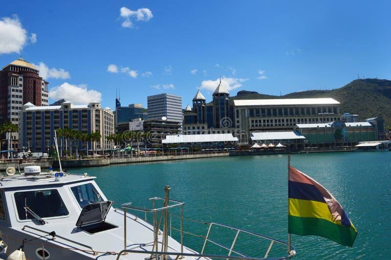 Caudanwaterkant, Haven Louis, Mauritius royalty-vrije stock fotografie