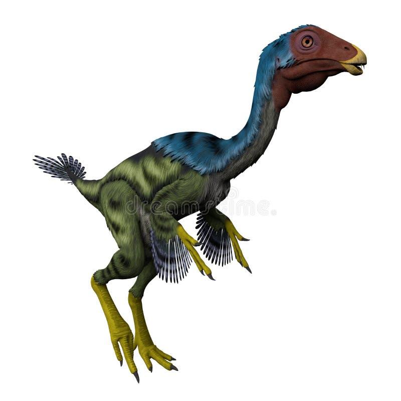 Caudipteryx στο λευκό διανυσματική απεικόνιση