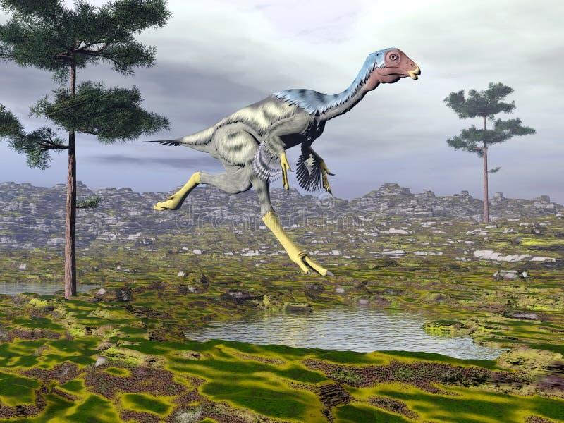 Caudipteryx dinoasaur - 3D framför royaltyfri illustrationer