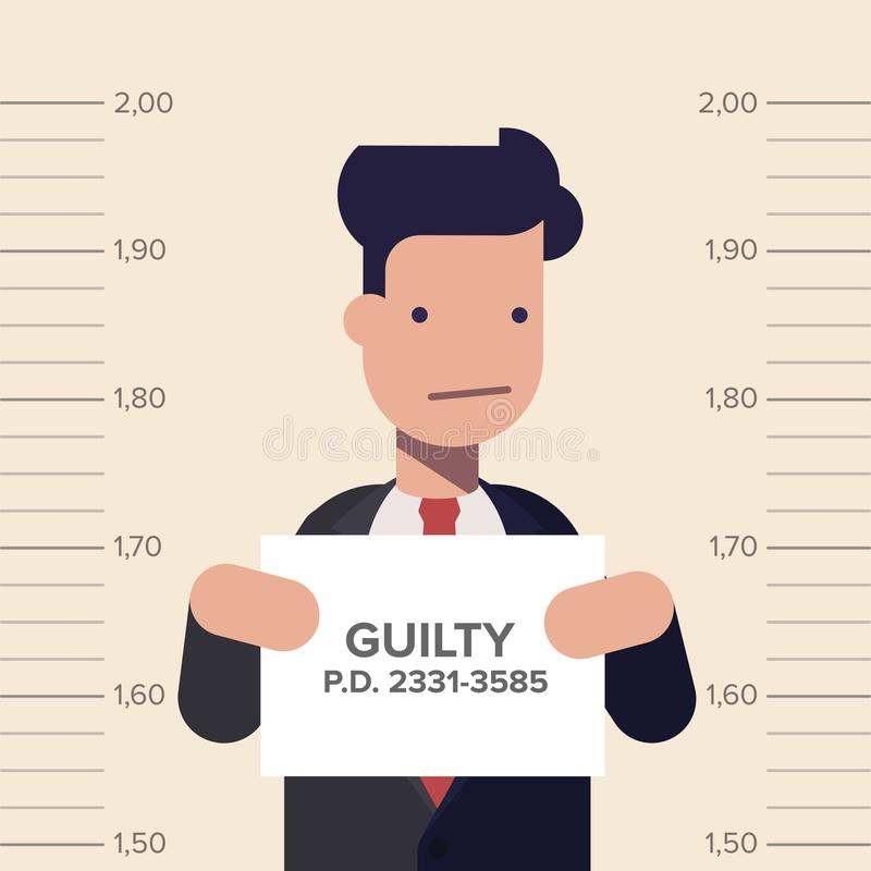 Caught guilty businessman or manager with ID signs on his hand. Concept dishonest business. Flat vector illustration in stock illustration