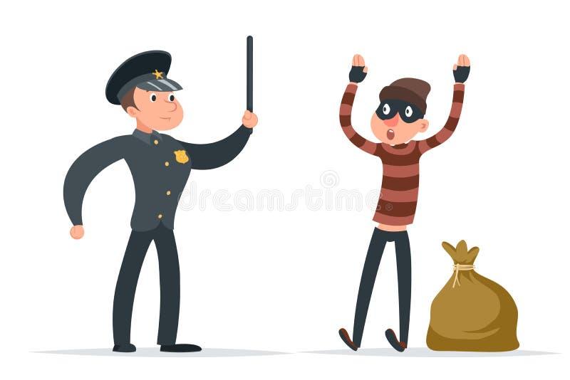 Caught thief surrender loot policeman character cartoon design vector illustration stock illustration