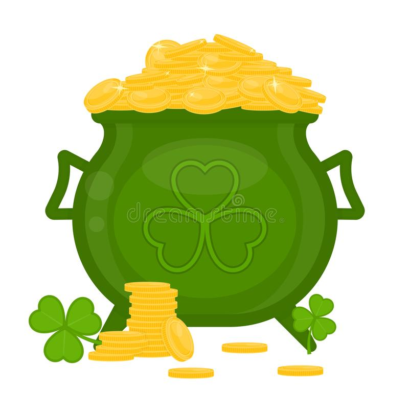 Cauldron with gold coins and clover shape stock illustration
