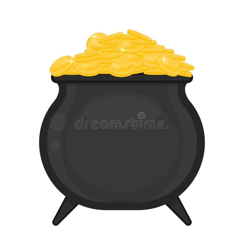 Cauldron with gold coins royalty free illustration