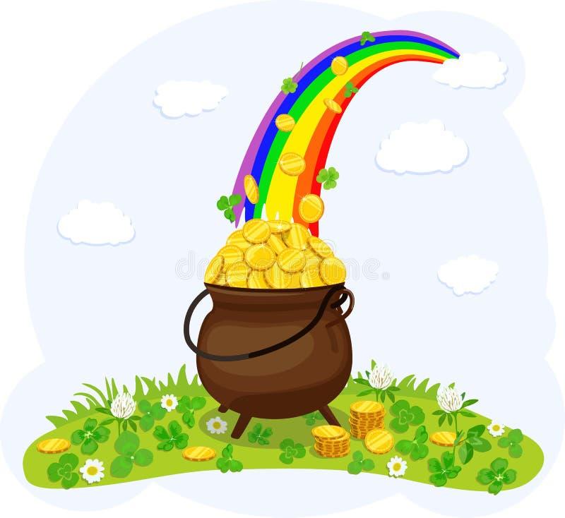 Cauldron, with gold coins under rainbow. Vector illustration. stock illustration