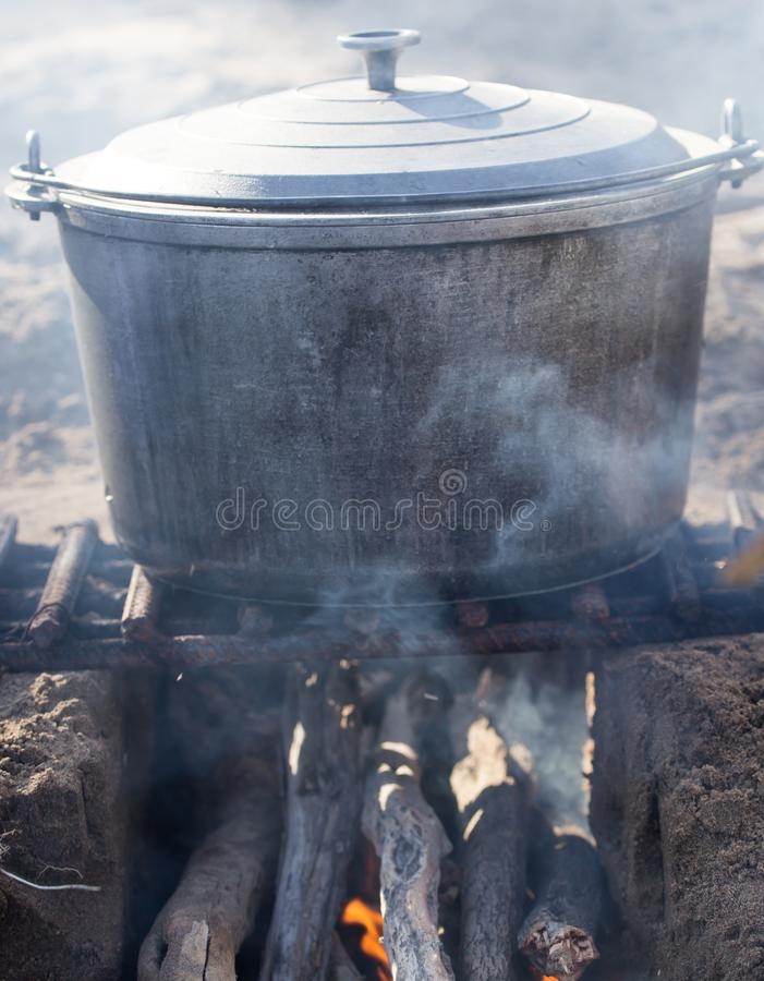 Cauldron on the nature royalty free stock images