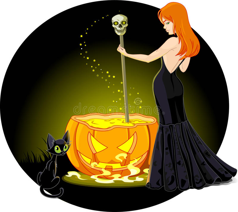 Cauldron witch stock illustration