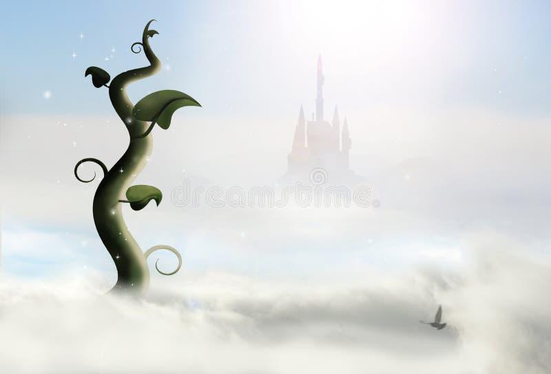 Caule de feijoeiro e castelo ilustração royalty free