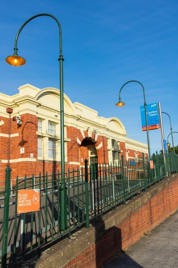 Caulfield火车站在幽谷Eira城市是一个主要市郊火车驻地 库存图片