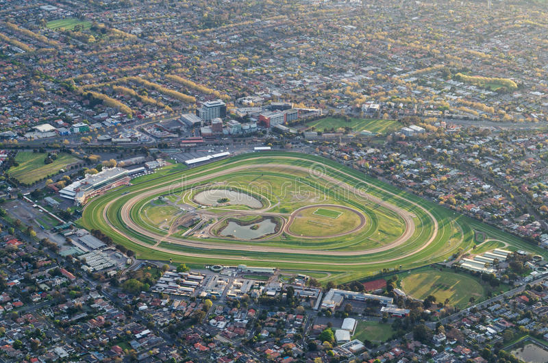 Caulfield Racecourse in Melbourne aerial view. 15 September 2013 - aerial view of Caulfield Racecourse in Melbourne, taken at dawn from a hot air balloon royalty free stock image