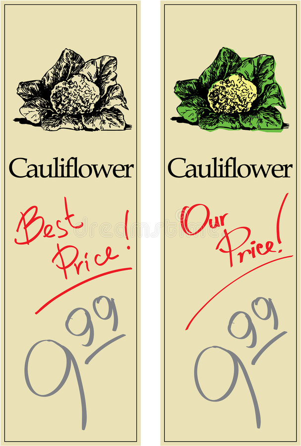 Cauliflower. Two Price Tags with Vintage Effect vector illustration