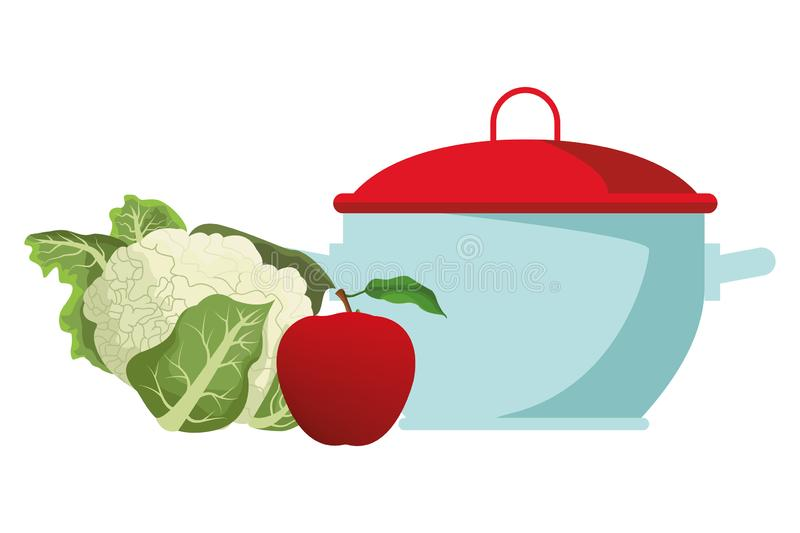 Cauliflower and apple. Icon cartoon isolated with cooking pot vector illustration graphic design royalty free illustration